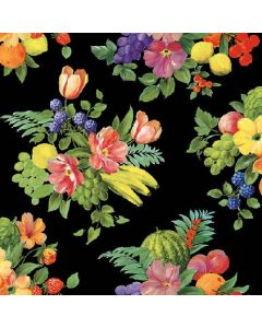 Flowers and Fruits Black - 4 Napkins for Decoupage