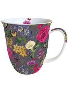 Botanical Florals Grey  0.4L Bone China Mug - Ambiente Mug