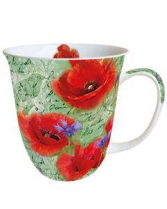Painted Poppies Green  0.4L Bone China Mug - Ambiente Mug