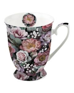 Vintage Flowers Black  0.25L Bone China Mug - Ambiente Mug