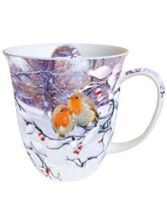 Robins On Branch  0.4L Bone China Mug - Ambiente Mug