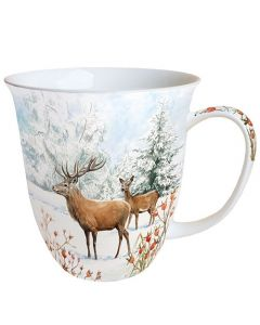 Deer In Snow  0.4L Bone China Mug - Ambiente Mug