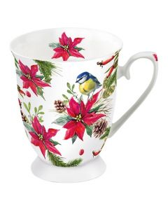 Bird on Poinsettia White  0.4L Bone China Mug - Ambiente Mug