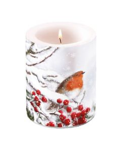 Ambiente Pillar Candle Robin in Snow