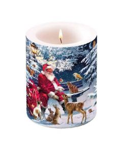 Ambiente Pillar Candle Santa on Bench