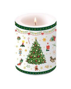 Ambiente Pillar Candle Evergreen White