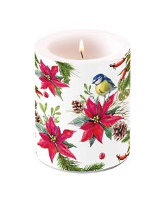 Ambiente PIllar Candle Bird on Poinsettia White