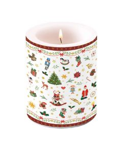 Ambiente Pillar Candle Ornaments All over Red