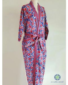 An Indian Summer  Kimono Robe - Floral Block Print - Spice - Red & Blue