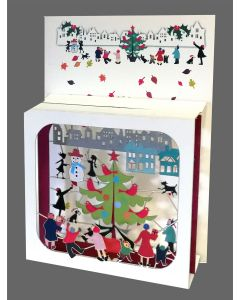 Outdoor Tree and Snowman #BX806 - Magic Box Christmas Card