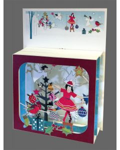 Lady in Red Trimming Christmas Tree #BX814 - Magic Box Christmas Card