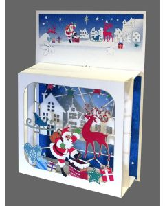 Santa at the Chimney #BX815 - Magic Box Christmas Card