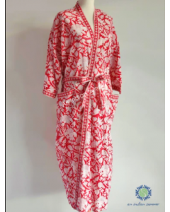 An Indian Summer Long Kimono Robe - Floral Block Print - Thistle - Red