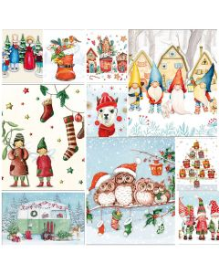 Cute Christmas - Mixed pack of 20  Napkins for Decoupage