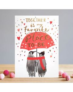 Louise Tiler Valentine's Day Card Penguins Together