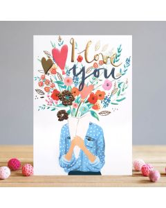 Louise Tiler Valentine's Day Card  I Love You Flowers