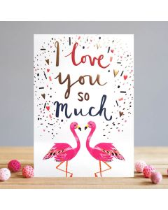 Louise Tiler Valentine's Day Card  Flamingo Couple