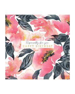 The Art File Natural Phenomenon Birthday Card Pink Watercol Flower