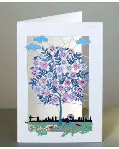 Forever Card Laser Cut Card  London Skyline and Blossom