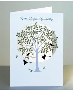 Forever Cards Sympathy Card  With Deepest Sympathy, Green Tree with Birds