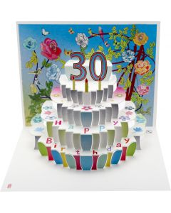Forever Cards Birthday Card 30th Birthday Floral Pop Up
