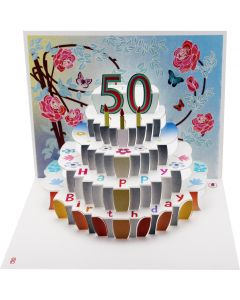 Forever Cards Birthday Card 50th Birthday Floral Pop Up