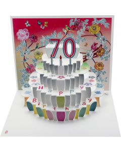 Forever Cards Birthday Card 70th Birthday Floral Pop Up