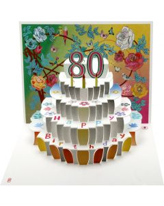 Forever Cards Birthday Card 80th Birthday Floral Pop Up