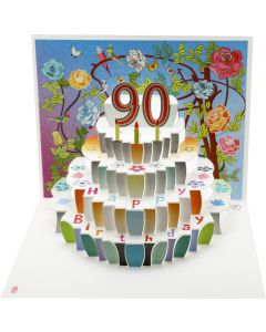 Forever Cards Birthday Card 90th Birthday Floral Pop Up