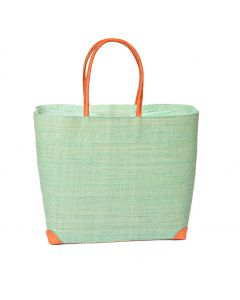 Madaraff Raffia Basket Extra Large Shopper Mint  #RB119M