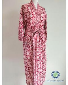 An Indian Summer Kimono Robe - Floral Block Print - Meadow - Red