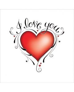 T'Too Valentine's Day Card Scroll Heart I Love You