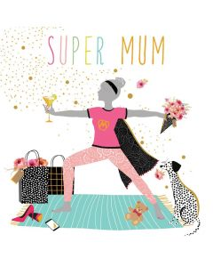 Sara Miller London Mother's Day Card Super Mum, Yoga