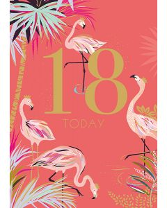 Sara Miller London 18th Birthday Card - Fabulous Flamingo