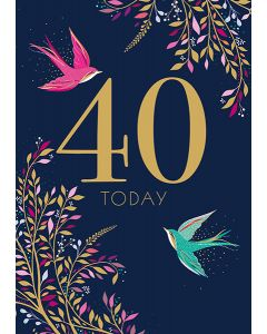 Sara Miller London 40th Birthday Card - Soaring Swallows