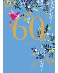 Sara Miller London 60th Birthday Card - Hummingbird