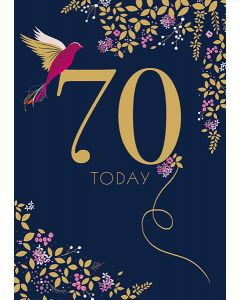 Sara Miller London 70th Birthday Card - Hummingbird