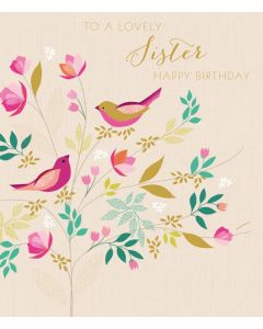 Sara Miller London Birthday Card To a Lovely Sister Happy Birthday