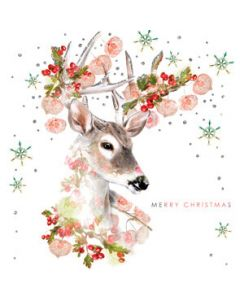 Lola Design White Tailed Deer Christmas Card