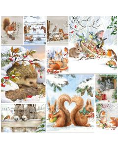 Winter Animal Friends - Mixed pack of 20 Napkins for Decoupage