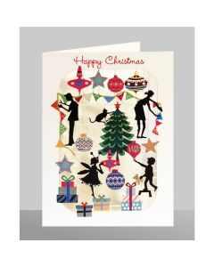 Silhouettes of Tree Trimming - Happy Christmas - XP61 - Laser Cut Christmas Card
