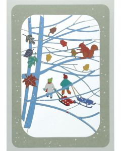 Children with Sledges  - XP83 - Laser Cut Christmas Card