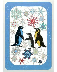 Penguins and Snowflakes - XP86 - Laser Cut Christmas Card