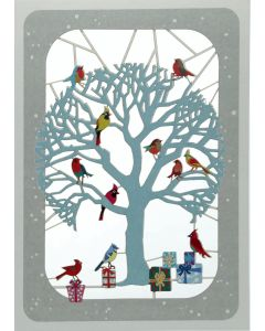 Tree with Birds - XP87 - Laser Cut Christmas Card