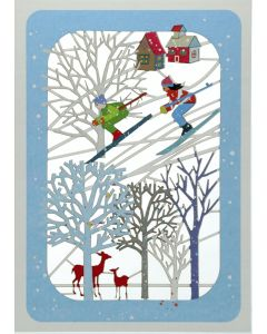 Skiers and Trees  - XP92 - Laser Cut Christmas Card