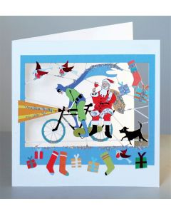 Forever Cards Superhero and Santa on a Bike Christmas Card