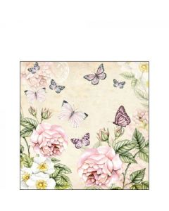 Ambiente Paper Napkins Pack of 20 3-ply Cocktail Size Botanical Cream