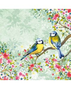 Birds Watching in Green - 4 Napkins for Decoupage
