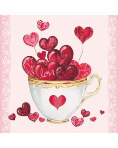 Cup of Hearts - 4 Napkins for Decoupage