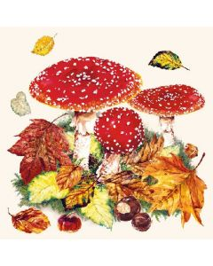 Paper Napkins for Decoupage, 4 Single Lunch Size Paper Napkins, Fly Agaric